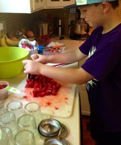 Mushing the Strawberries