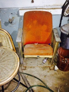 Possibility: Paint and recover this movie theatre seat that Aaron acquired decades ago and move it into our living space.