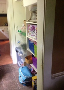 Possibility: Rework our rigged by previous owner butler's pantry shelves and build a nice sliding pantry door for it.