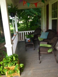 Possibility: Scrape and paint our front porch and paint our railing a fun color.