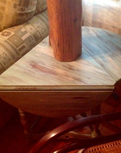 This table used to be very shiny wood...much more deserving of our unconventional farmhouse now!